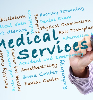 Hand writing multiple medical services required by healthcare reform.